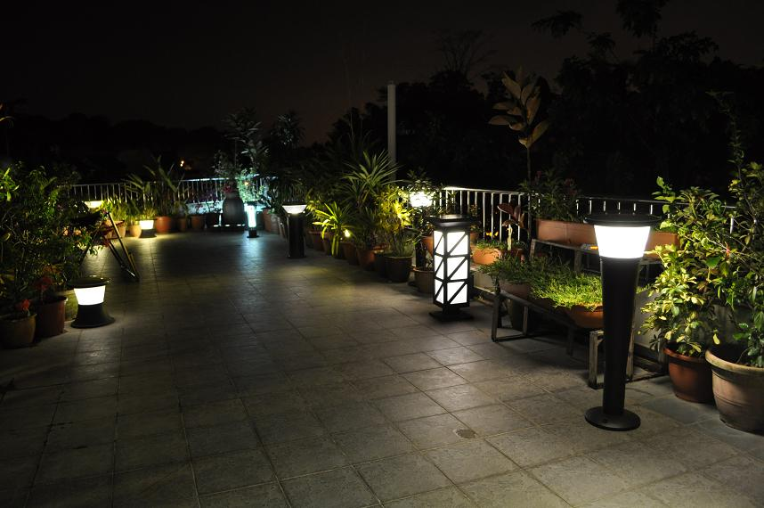 Solar lawn light on the roof top Garden.